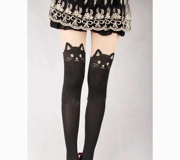 *free ship* Kitty print tights