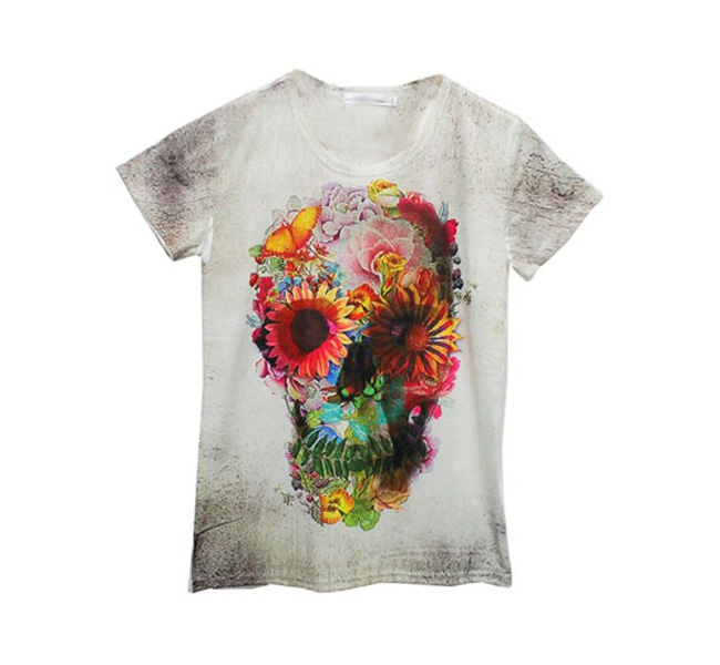 7e47c6e5 free Ship* Floral And Skull Print T-shirt on Luulla