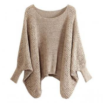 Beige Slouchy Knit Sweater with Batwing Sleeves