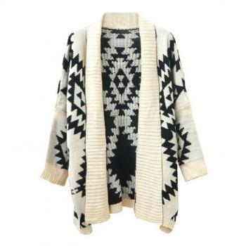 *free ship* Geometric Cardigan with Long Lapel