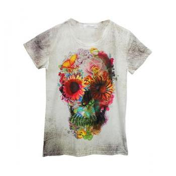 *free ship* Floral and Skull Print T-shirt